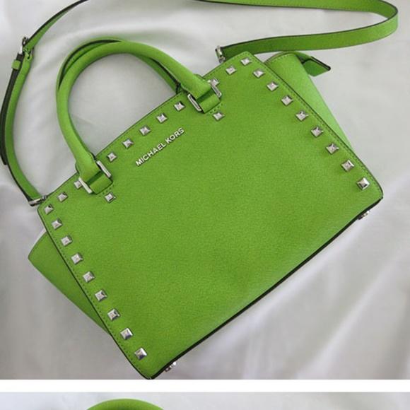 76f7d5477190 Michael Kors Bags | Studded Selma Satchel Bag Pear Rare | Poshmark